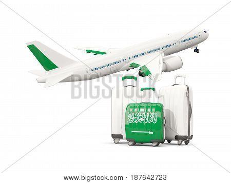 Luggage With Flag Of Saudi Arabia. Three Bags With Airplane