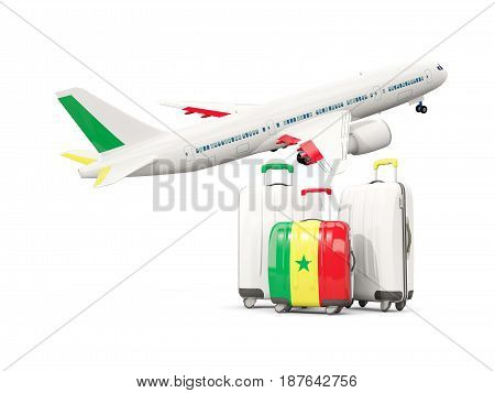 Luggage With Flag Of Senegal. Three Bags With Airplane