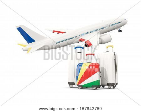 Luggage With Flag Of Seychelles. Three Bags With Airplane