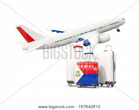 Luggage With Flag Of Sint Maarten. Three Bags With Airplane