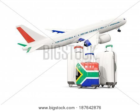 Luggage With Flag Of South Africa. Three Bags With Airplane