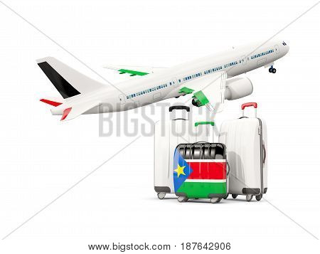 Luggage With Flag Of South Sudan. Three Bags With Airplane