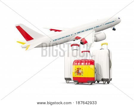 Luggage With Flag Of Spain. Three Bags With Airplane
