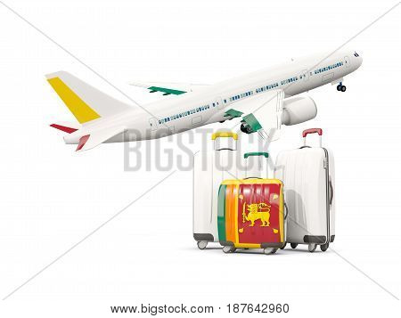 Luggage With Flag Of Sri Lanka. Three Bags With Airplane