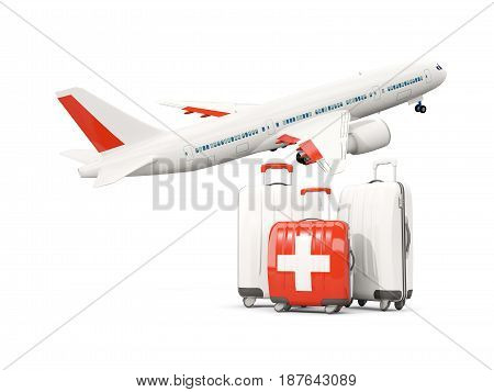 Luggage With Flag Of Switzerland. Three Bags With Airplane