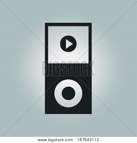 Portable media player icon. Flat design style.