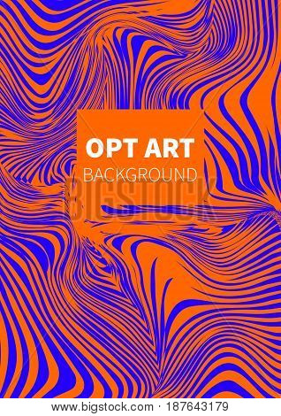 Opt art. Hipster orange and blue vector card banner flyer.