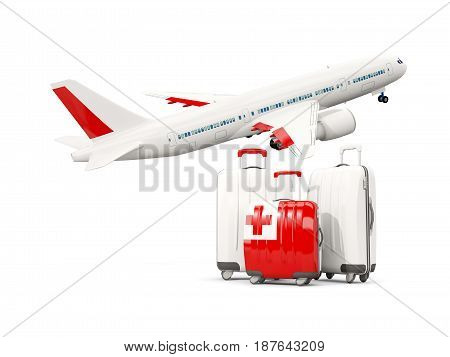 Luggage With Flag Of Tonga. Three Bags With Airplane