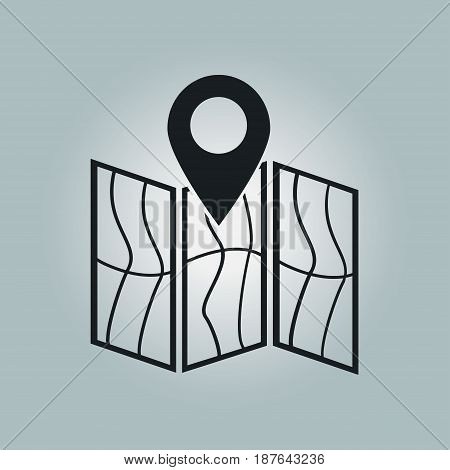 Map icon. Location symbol. Flat design style.