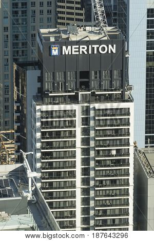 Sydney, Australia - May 16, 2017: View of an apartment building constructed by Meriton in Sydney CBD. Meriton is Australia's largest apartment developer.