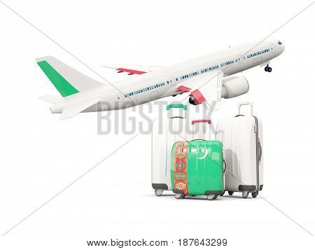 Luggage With Flag Of Turkmenistan. Three Bags With Airplane