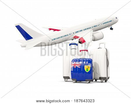 Luggage With Flag Of Turks And Caicos Islands. Three Bags With Airplane