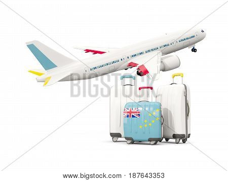 Luggage With Flag Of Tuvalu. Three Bags With Airplane