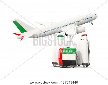 Luggage With Flag Of United Arab Emirates. Three Bags With Airplane