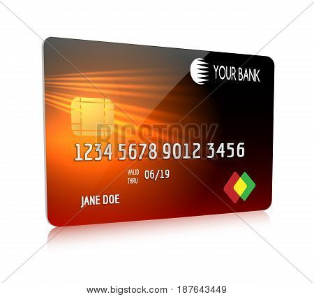 Debit or credit card isolated on white background. Red creditcard symbol front view with your bank label for business and shopping vector illustration