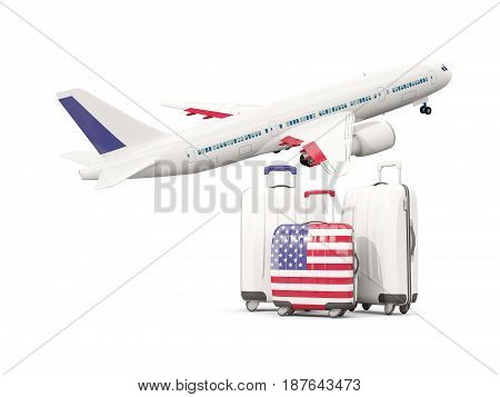 Luggage With Flag Of United States Of America. Three Bags With Airplane
