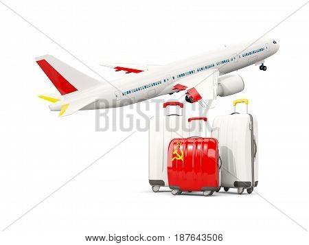 Luggage With Flag Of Ussr. Three Bags With Airplane
