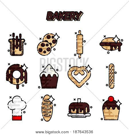 Bakery flat icons set with sweet pastries products ingredients baker equipment isolated vector illustration
