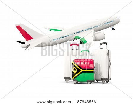 Luggage With Flag Of Vanuatu. Three Bags With Airplane