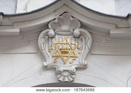 Star of David -relief on facade of synagogue JosefovJewish quarter of Prague Czech Republic Europe