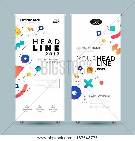 Corporate Banner - vector template illustration with abstract memphis style background. Make your company look good. Headline and topic. Modern outlook with different shapes. Copy space for your logo.