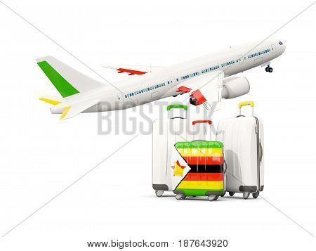 Luggage With Flag Of Zimbabwe. Three Bags With Airplane