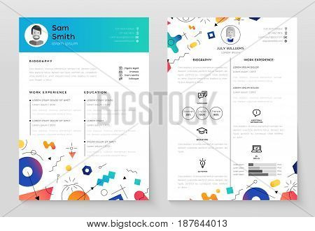Personal Resume - vector template illustration with abstract memphis style background. Make your resume structured and well organized. Biography, work experience, education. Modern outlook with different shapes.