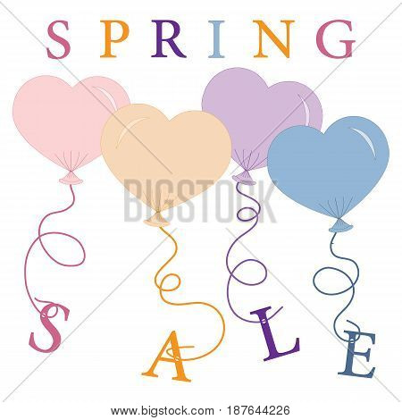 Cute Picture With Presents And Gift Boxes With Balloon And Text Spring Sale.