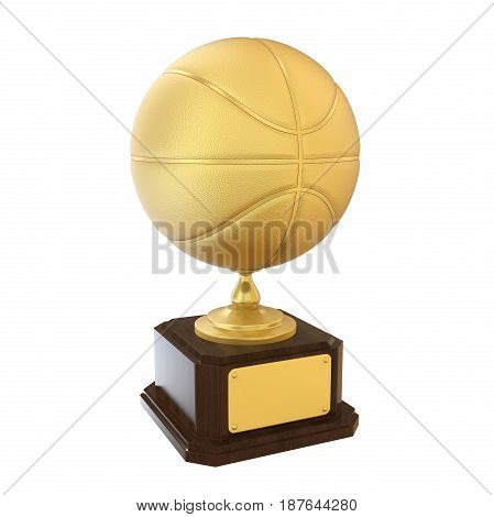 Basketball Golden Trophy isolated on white background. 3D render