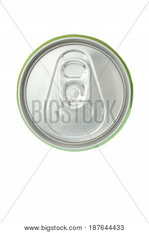 Top view of closed beverage green aluminum can on white background.