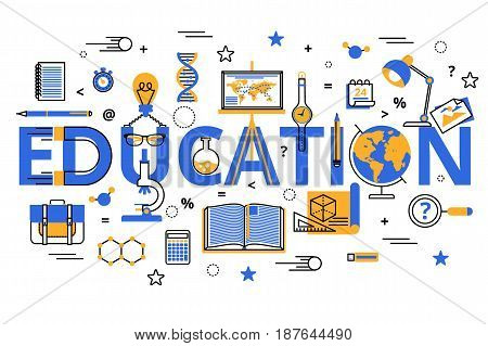 Vector illustration, education process, increasing knowledge, choice of universities for web banners, brochures. Education concept in modern flat line style.