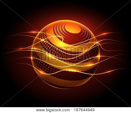 Abstract graphic design vector background with power energy sphere and lights flaws in darkness
