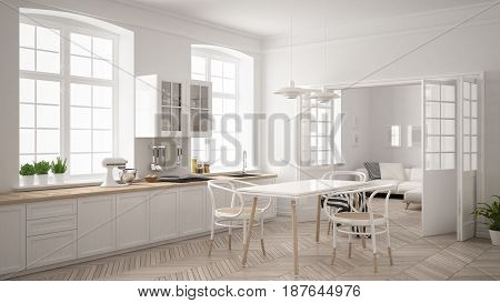 Minimalist scandinavian white kitchen with living room in the background classic white interior design, 3d illustration