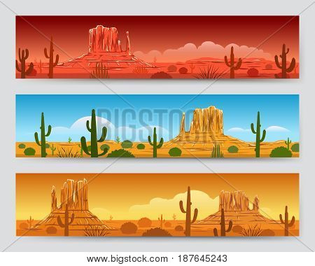 Wild nature tranquil desert mexican landscape banners with sunrise or sunset, cactus and mountain silhouettes. Vector illustration