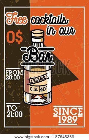 Color vintage bar banner with design elements. Vector illustration, EPS 10