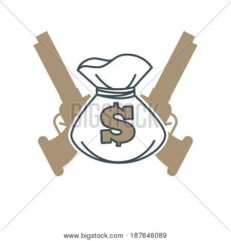 Vector illustration of two revolvers and money bag symbol on the white background.