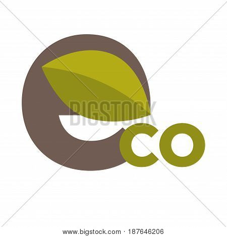 Vector illustration of eco word with leaf emblem isolated on white.