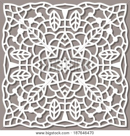 Square pattern for laser cutting. Ornament can be used for the envelope, greeting cards, decoration.