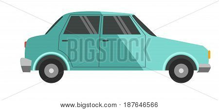 Vector illustration of blue small vehicle isolated on white.