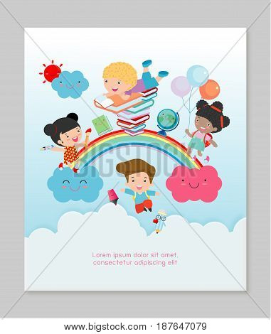 back to school, kids school, kids education concept, children go to school, Template for advertising brochure, your text ,Kids and frame,child and frame,Vector Illustration