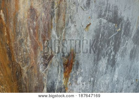 Old Cement Wall With Brown Stain On It. This Image For Texture,abstract And Background Conceptrather