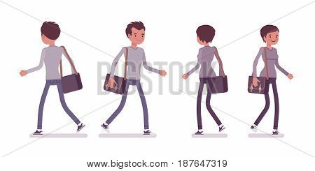 Set of young man and woman, casual dressing, grey longsleeve, skinny jeans, holding messenger bag, walking pose, front, rear view, vector flat style cartoon illustration, isolated on white background