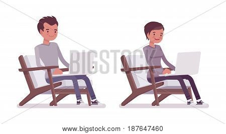 Set of young man and woman, casual dressing, sitting in comfortable armchair, working with laptop, smiling, coworking space, vector flat style cartoon illustration, isolated, white background