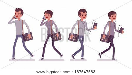 Set of young man and woman, casual dressing, skinny jeans, holding messenger bag, walking pose, talking on phone, listening to music, vector flat style cartoon illustration, isolated, white background