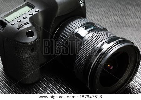 digital SLR camera. close up . photographer equipment