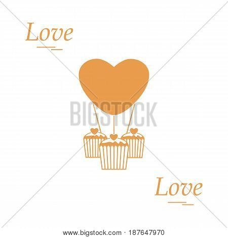 Cute Vector Illustration Of Love Symbols: Heart Air Balloon Icon And Three Cupcakes. Romantic Collec