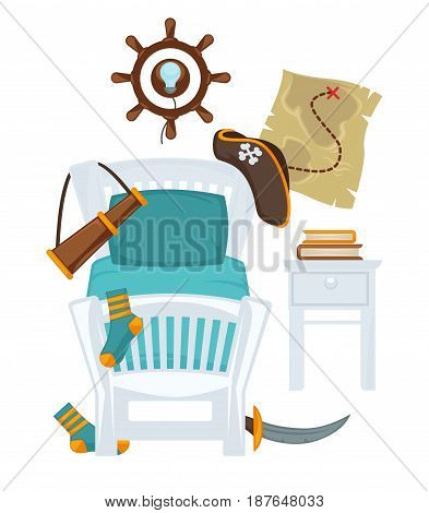 Vector illustration of bed and different toys of little boy isolated on white.