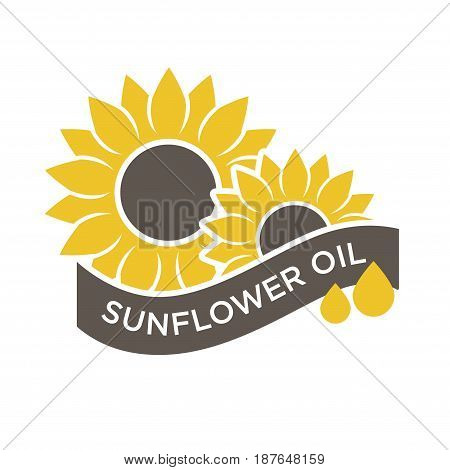 Vector illustration of sunflower and sunflower oil words isolated on white.