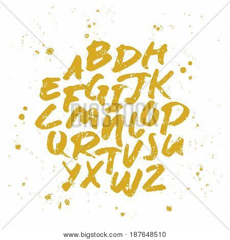 Vector alphabet. Hand drawn letters written with a brush. Gold on white background