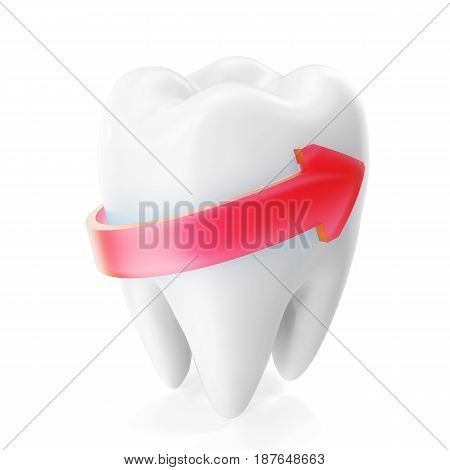 3D rendering sparkling white teeth isolated on white background. Dental care Tooth Concept
